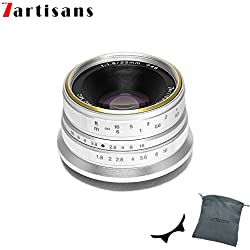 7Artisans 25 mm F1.8 mise au point manuelle Prime fixe objectif pour Olympus et Panasonic Micro 4/3 mFT M4/3 Caméras - Argent