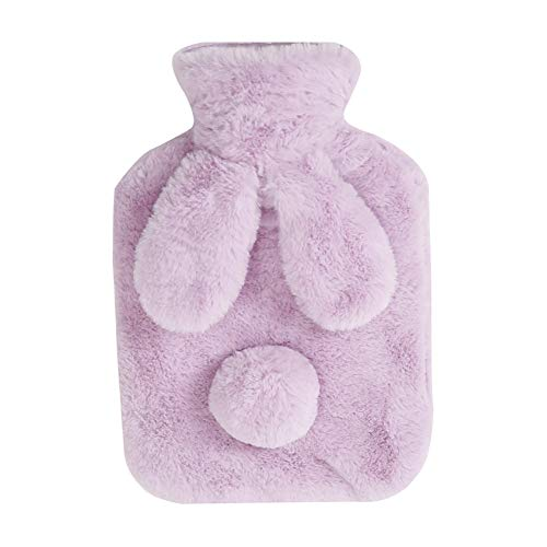 Lumanuby 1x Plüsch-Bezug Wärmflasche für Erwachsene Kinder PVC Wärmekissen 0.4L mit Plüsch Kaninchen Ohr und Nagel Decal für Wärmespender (Violett)