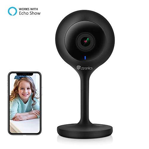 WLAN IP Kamera, Kompatibel mit Amazon Alexa,Ctronics Full HD 1080P Überwachungskamera Indoor Mini-Kamera mit Bewegungserkennung, Nachtsicht, Zwei-Wege-Audio, Fernüberwachung, Baby-Monitor