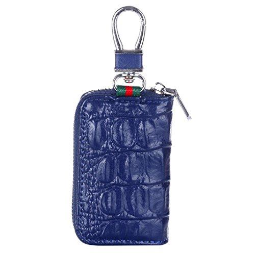Auto Schlüssel Tasche, Rosa Schleife Damen Ledertasche Auto Schlüssel Etui Leder Reißverschluss Geldbörse Key Case Schlüssel Kaste Blau