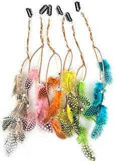 Kostüm Indianer Haar - Fodattm Haarverlängerungen, handgefertigt, bunt, Boho-Stil, Hippie-Stil, mit Feder, mit Klammer, Kamm, Haarnadel, Kopfschmuck, Bastel-Zubehör, für Damen und Mädchen, 6 Stück