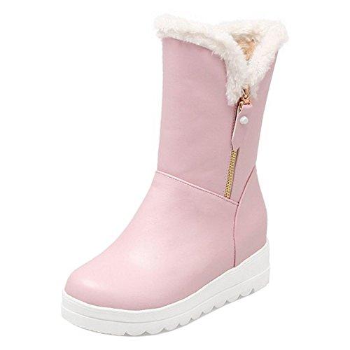 COOLCEPT Femmes Confort Flatform Bottes de Neige A Enfiler pink