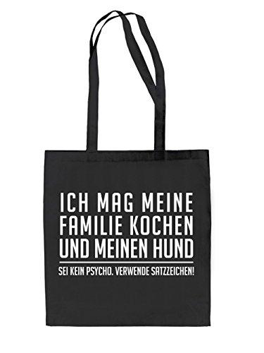 7INCH.Edition Bags Ich mag meine Familie Kochen Jutebeutel Black