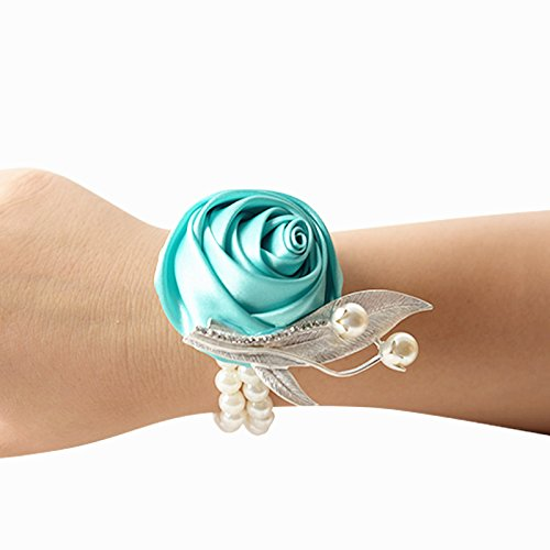 Groom boutonniere prom sposa polso corpetto matrimonio decorazione fiore party flower polso corpetto tiffany blue