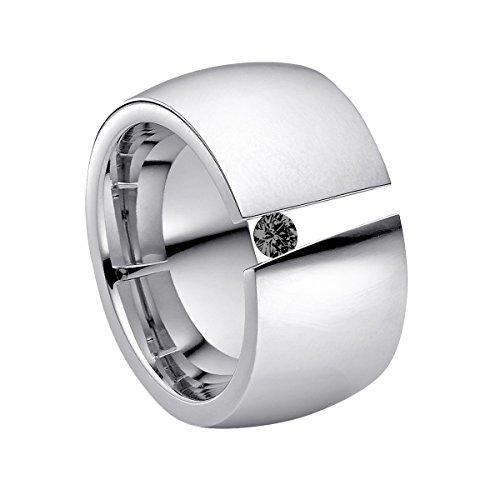 Heideman Ring Damen Aditus aus Edelstahl Silber farbend poliert Damenring für Frauen mit Swarovski Stein Zirkonia schwarz im Brillant Schliff 3mm