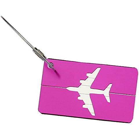 Tinksky Viaggio tag bagagli bagagli Tag alluminio aereo bagaglio borsa (viola)
