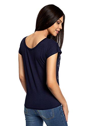 oodji Ultra Donna T-Shirt in Viscosa con Ricamo Blu (7910P)