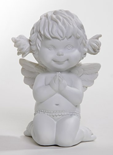 Betender Engel Lucy, knieend, weiß, 12 cm (Betender Statue Engel-garten)