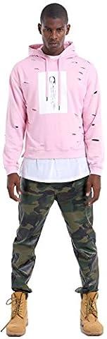 Pizoff Hipster Hip Hop Drop Shoulder Split Hem Ripped Light Pullover Dance Hoodie Y1711-pink-XL