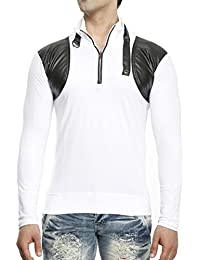 Tees Collection Men's Leather Flap Dragon Neck White Color Full Sleeve T-shirt