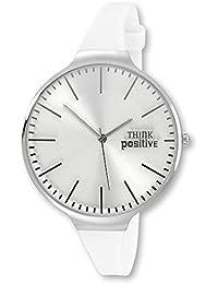 fa4b7c17352b Think Positive de Classic – Reloj analógico para mujer de silicona pulsera  de cuarzo blanco reloj