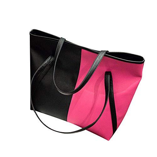 TianWlio Frauen Handtasche Mode Klicken Sie auf Farbe Ledertaschen Schultertasche Casual Handtasche Hot Pink