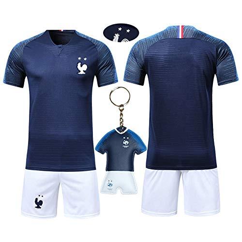 OUJD Ensemble de T-Shirt Maillots de Football Enfant Coupe du Monde 2018 France 2 étoiles Champion Enfant Ensemble de Sport Garçon T-Shirt et Short