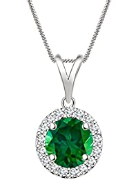 "Silvernshine 7mm Green Emerald & Sim Diamond Halo Pendant 18"" Chain In 14K White Gold Fn"