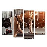 islandburner Tableau Tableaux sur Toile Musculation Classique Femme Blonde musclée, Faire des Exercices dans la Salle de Gym Poster, Image, Cadeau HFO-4erP