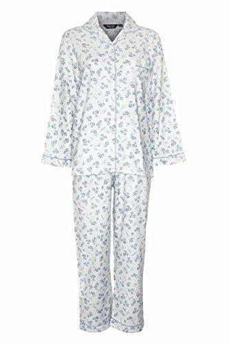 Champion Damen Schlafanzug, Baumwollflanell, mit Blumenprint  - Blau - Blue - 48 (Pyjama Hose Gebürstete Baumwolle)