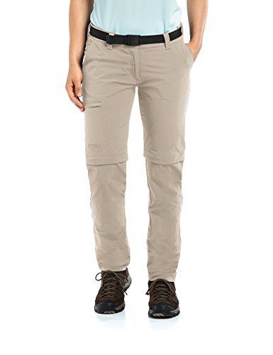 Maier Sports Damen Inara Slim Zip Wanderhose Bermuda-Zipp-Off, Feather Gray, 17