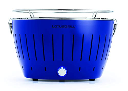 LotusGrill Ultramarinblau mit USB-Anschluß Sonderfarbe Limited Edition. Der raucharme Holzkohlegrill/Tischgrill. Die neueste Technik - Robuster, langlebiger Edelstahlkohlebehälter -