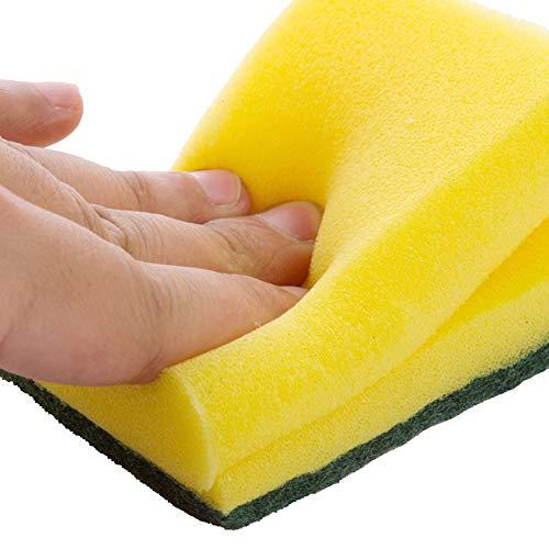 cA0boluoC Scheuerschwämme, doppelseitig, Schaumstoff-Pads, Reinigungsschwämme, für Küche, Pfannen, Töpfe, Kochgeschirr, strapazierfähig, 2 Stück, Mehrfarbig