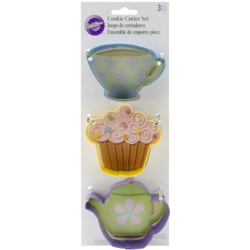 Tea-party-cookie-cutter-set (Wilton dreiteilige Tea Party Cookie Cutter Set–Mehrfarbig)