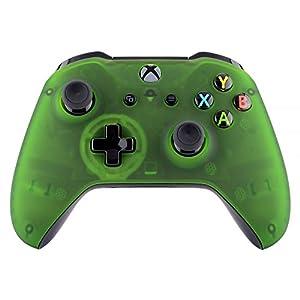 eXtremeRate Hülle für Xbox One S/X,Case Schutzhülle Hülle Gehäuse Cover Schale Skin Shell Zubehör Set für Xbox One S/Xbox One X Controller(Grün Transparent)