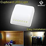 #3: MADHULI® Universal Furniture Wardrobe Inner Hinges LED Automatic Sensor Light System Cabinet Drawer Cupboard Shoe Box auto Light with Battery Included.