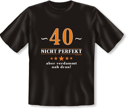 Geburtstags-Fun-Shirt-Set inkl. Mini-Shirt/Flaschendeko: 40 nicht perfekt aber verdammt nah dran! Schwarz