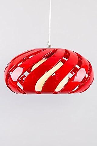 Contemporain simpliste Design Abat-jour en verre rouge 55cm Diamètre et hauteur: 20cm 1lumière chrome Support et Câble Transparent