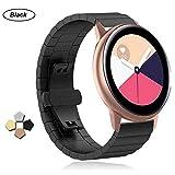 Buwico Armband für Samsung Galaxy Watch Active, Edelstahl Uhrenarmbänder Metall Uhrenarmband Ersatz Handgelenk Band Fitness Uhr Wechselarmbänder für Samsung Galaxy Watch Active Smartwatch (Schwarz)