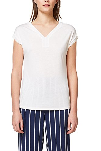 ESPRIT Collection Damen T-Shirt 048EO1K005, Weiß (Off White 110), Small