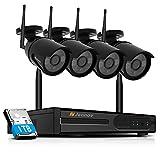 Kit de Caméra Sécurité sans Fil HD 1080P Système de Vidéo Surveillance Jennov 4CH WiFi NVR/DVR Enregistreur et 4pcs IP CCTV Caméras Extérieures/Intérieures, IP66 Etanche, 1TB Disque Dur Inclus