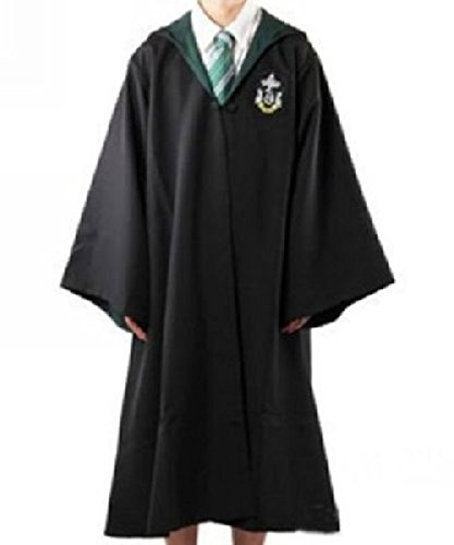 Potter Billig Harry Kostüm - Harry Potter Kostüm Jünger Erwachsene Gryffindor Slytherin Ravenclaw Hufflepuff Adult Child Unisex Schule lange Umhang Mantel Robe--Slytherin,M for adult