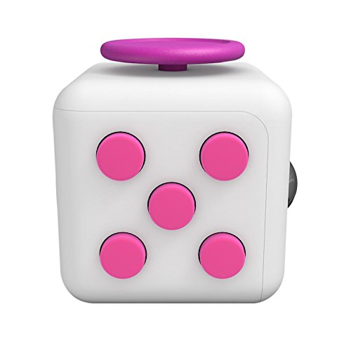 Lodabodkin Fidget Cube Relieves Stress and Anxiety for Children and Adults, Anxiety Attention Toy (White-pink)