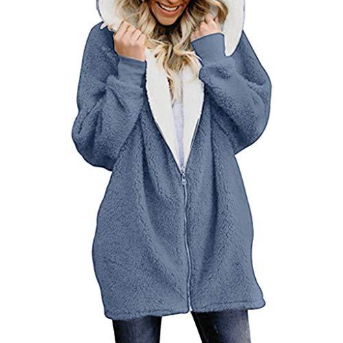 AIni Solide Übergrößed Zip Down Hooded Flauschiger Mantel Strickjacken Outwear mit Tasche Warm Jacke Mäntel Coat Neuheit 2019(XXXXL,Dunkelblau)