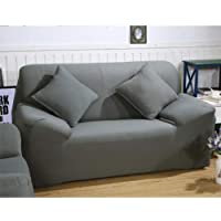 ParaCity Stretch Sofa Covers 2 Seater Fabric Slipcover Protector Couch Slipcover for Loveseat(2 seater:140-185cm, Grey)