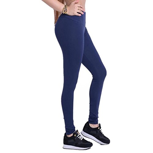 Dreaskull Leggings Jeggings Treggings Bleistifthose Stretchhose Damen Mädchen Hose Lang Blickdicht High Waist Skinny Slim Fit Schwarz Yoga Joggingshose Stretch Workout Fitness (M, Knallblau)