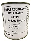 1 x 500ml Satin Antique Ivory Heat Resistant Wall Paint. Wood Burner Stove Alcove. Brick, concrete, plaster, cement board, rendering, metal, timber etc. Light Cream, Off White.