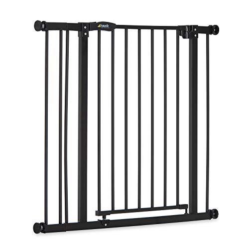 Hauck Close N Stop - Puerta de Seguridad con Extensión de 9 cm, para Puertas y Escaleras 84-98 cm, Sin Agujeros, Combinable con Y-Spindel Para Barandillas, Negro/Gris Marengo