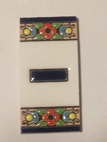 funky global Spanische Keramikfliesen, Handbemalt, 75 x 38 mm Buchstaben und Zahlen, Handbemalt mit Trockenschnurtechnik, perfekt zum Erstellen von Schildern, Adressen und Namen. Design Flores Mini