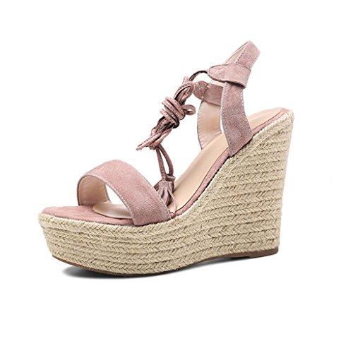 Meng Wei Shop Sommer Sandalen für Damen New Straw High Heel Rom Verbandschuhe Dick-Sohlen Mode Sexy Schuhe (High 11cm) (Color : Pink, Size : 38)