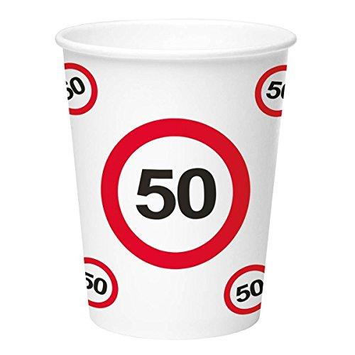 Preisvergleich Produktbild NEU Becher Verkehrsschild 50, 350 ml, 8 Stück