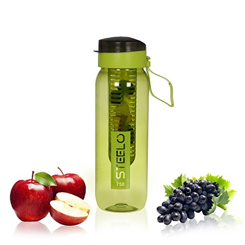 Steelo Plastic Fruit Infuser Bottle, 750ml, Green