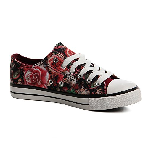 Topschuhe24 572 baskets femme chaussures de sport Rouge - Red Print