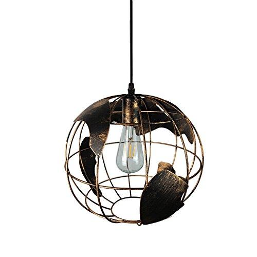 Suspension industrielle moderne - Suspension Motent de 30 cm de large - Culot E27 - Style vintage - Globe terrestre, Métal, 1 Lampe, E27 40.00W 220.00V