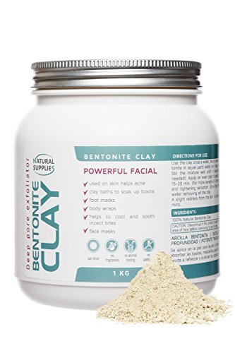 Bentonite Clay 1kg Aztec Indian Healing Clay Deep Pore Cleansing 100% Pure Bentonite Clay | Deep Skin Pore Cleansing, Detoxifying and Revitalization. (1 Kg)