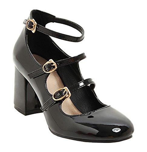 YE da donna caviglia Riemchen Chunky High Heels di pelle scarpe con tacco a  blocco e fibbie chiusa 7 cm tacchi moderno elegante scarpe 53aae83cb85