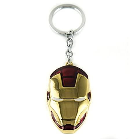 LZY de Store Tony Stark Iron Man o War Machine Casco llavero Super Hero Funda Accesorios, Goldene