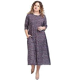 8b3d9a23a85a Lastinch Women's Rayon Mid Calf Length Blue Printed Shirt Dress (Size M-  8XL)
