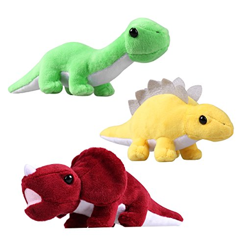 NUOLUX 3PCS Soft Dinosaur Toys Stuffed Animal Cushions Adorable Gift for Kids Children (Green and Yellow and Wine Red)