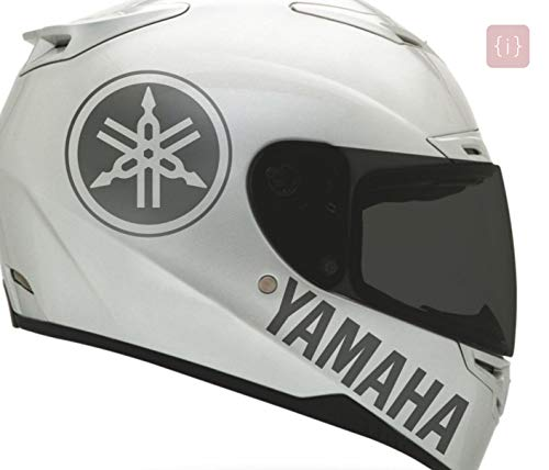ISEE 360® Yamaha Stickers for Bike R15v3 Fz Fz3 Helmet Yamaha Logo Grey Decals L x H 8 x 8 and 12 x 3 Cms (Pack of 2)